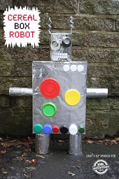 Recycled cereal box robot. We love recycled crafts! This easy kid craft is from Kids Activities Blog.