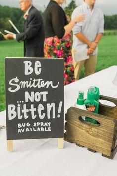 I like the idea of a bug spray table.  But with an all-natural spray, like lavender.  Perhaps even have as a welcoming gift in the cabins.: