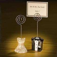 """Place card holders    """"Wishing you riches from the new Mr. and Mrs."""""""