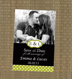 Printable Save the Date Card - Lime Green and Black Save the Date Card - Custom Wedding Announcement. $15.00, via Etsy.