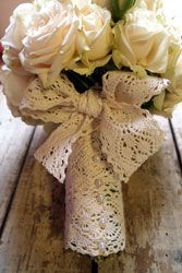 Wouldn't it be sweet to do this handle treatment with some lace from a mother or grandmother's wedding attire?