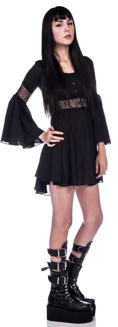Lip Service Lace Detailed Bell Sleeve Dress from Dolls Kill...love the dress but I wouldn't wear the shoes...they're cool though lol