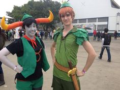 tavros as pupa pan, with peter pan.  tavros cosplayer peanutbutter-and-hellajelly