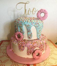 "I'm loving donuts even more. 😍🤤🍩 How cute is this cake? Thanks amiga for your ""TWO"" order. It added the final touch to your amazing cake! 2nd Birthday Party Themes, Donut Birthday Parties, Donut Birthday Cakes, Birthday Ideas, 2 Year Old Birthday Party Girl, Donut Cakes, 4th Birthday, Donut Party, Party Snacks"