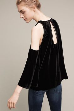 Velvet Open-Shoulder V-Neck Blouse