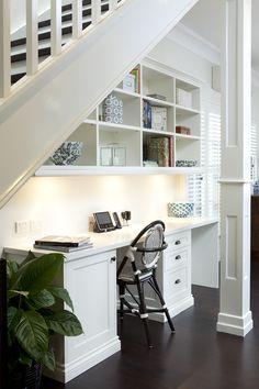 Basement Office Tucked Under the Stairs, Incased Column Millwork; Porchlight | http://desklayoutideas.blogspot.com