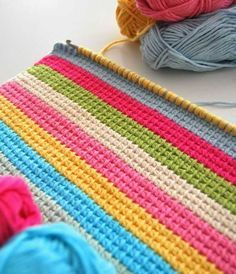 renkli battaniye örme