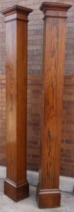 Early 20th century floor to ceiling craftsman style square oak wood columns