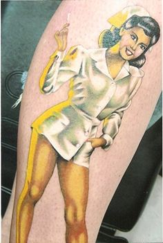 Nurse Pinup Tattoo by Sam Iamm Dunn, Northeast Tattoo and Piercing, Minneapolis, MN, Twin Cities
