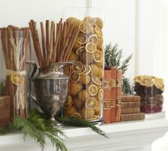 Ideas to Fill Glass Vases | Fill a glass vase with cinnamon and citrus | Holidays
