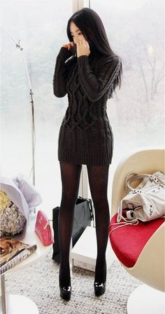Street fashion deep grey sweater dress.                                                                                                                                                      More