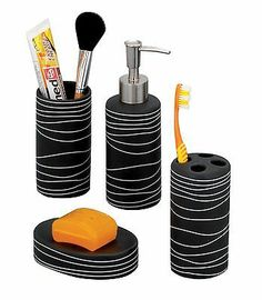 Zeller 18252 4-Piece Bathroom Accessories Set Ceramic Black with white | eBay