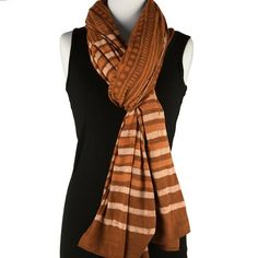 Block Printed Cotton Scarf in Earthy Tones