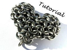 Chainmail Heart Tutorial- Cool Chainmail Heart on Etsy. Can be used to make…