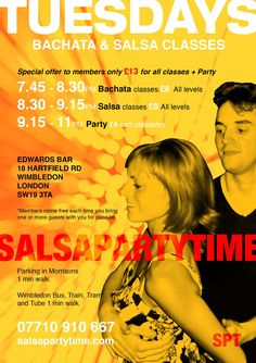 📌 We're OPEN TONIGHT, Tues 2nd May for our weekly Bachata & Salsa classes + Party @ Host Edwardswimbledon. 😊 GREAT NEWS 😊 EXTENDED HOURS 😊 ❤️ EVERY TUESDAY PartyTime now until 11.30pm ❤️ Come on down and join us for Another Great Night Out. ✔️ Everyone is welcome. No partner required. ★ 3 levels of Bachata @ 7.45pm with Simon Ofoborh, Natalie J Watterson, Tym Fuego. ★ 4 levels of Salsa @ 8.30pm with Laith Sami, Natalie J Watterson, Simon Ofoborh, Debbie Lumsden, Joe Blaq, Cheryl Langan…