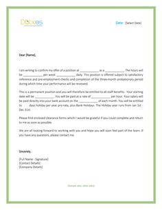 a job offer letter format business letters pinterest job