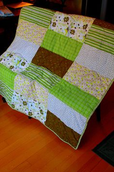 "Large Rectangle Squares Quilt, another pinner says ""just did this with 12 layer cake squares cut in half for Baby size.  Very nice and quick."""