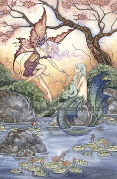 The Introduction Fairy and Mermaid PRINT 8.5x11 by door AmyBrownArt