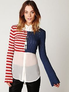 Free People American Flag Crop Pullover at Free People Clothing Boutique - StyleSays Cher Clueless, Clueless Fashion, Free Clothes, Clothes For Women, Free People Clothing, Cropped Sweater, Sweater Weather, Retro Fashion, Blue Fashion