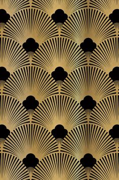 Golden 20ies Art Deco pattern for wallpapers and niche back wall exclusively at Küche & Co - #20ies #amp #Art #Deco #exclusively #Golden #Küche #muster #niche #pattern #Wall #wallpapers