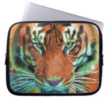Wild Tiger Reflection Big Cat Wildlife Art Computer Sleeves