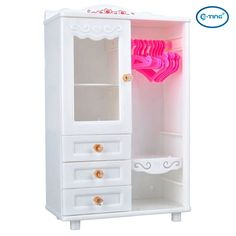 E TING Dollhouse Furniture Wardrobe Closet For Barbie Doll Clothes  Accessories