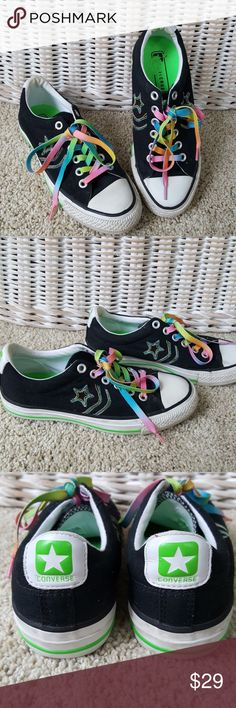 Converse All Star Rainbow Embroidered Shoe Size 6 Converse low top All Star in very good condition. Women's size 6 / UK 4. Pastel embroidered star. Pastel Laces. From a smoke-free home. Converse Shoes Sneakers