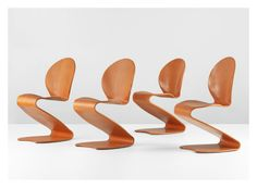 Verner Panton, S-Stuhl model 276, 1956/65. Laminated and bent plywood. Made by Sommer for Thonet. Via Wright.