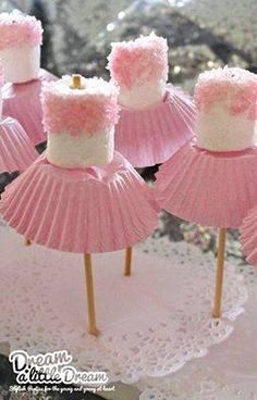 Ballerina Pops! heart emoticon  Such a cute and easy idea for a little girl's birthday party! smile emoticon I would think popsicle sticks would work just as well and would be a little less dangerous so I'm adding those to the materials and directions.