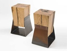 AMAZING end tables made from barn beams and reclaimed steel.  So cool!!