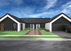 A 4 bedroom pavilion house plan with a ranging single storey design. A 279 sq metre h-shaped house design with 4 bedrooms and 3 bathrooms. Modern Barn House, Barn House Plans, Modern House Plans, Barn Style Houses, U Shaped House Plans, U Shaped Houses, 4 Bedroom House Designs, Exterior Cladding, Shed Homes