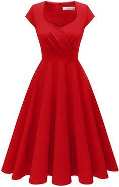 Homrain Women's Cocktail Dress Vintage 1950s Retro Cap Sleeve A-Line Rockabilly Swing Dress Red XS