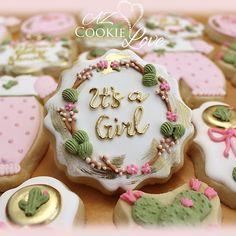 Fancy Cookies, Iced Cookies, How To Make Cookies, Sugar Cookies, Crazy Cookies, Biscuit Cookies, Cupcakes, Cupcake Cookies, Baby Girl Cookies