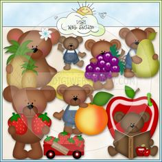 Tutti Fruitti Bears 1 - NE Kristi W. Designs Clip Art