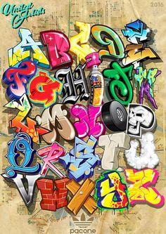 UA Alphabet Poster – Art – – Graffiti World Graffiti Tattoo, Banksy Graffiti, Graffiti Kunst, Graffiti Doodles, Graffiti Words, Graffiti Wall Art, Graffiti Tagging, Graffiti Drawing, Street Art Graffiti