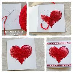 DIY pour la Saint Valentin : une carte coeur avec de la laine - Les p'tites décos de Lolo