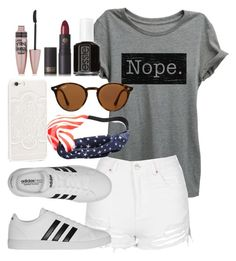 """""""Untitled #295"""" by almog-fashion ❤ liked on Polyvore featuring Thread Tank, Topshop, adidas, Chicnova Fashion, JFR, Ray-Ban, Maybelline, Lipstick Queen and Essie"""