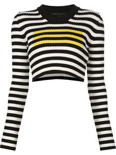 Black, white and yellow wool striped jumper from Marc Jacobs featuring a round neck, long sleeves and a cropped length. Striped Long Sleeve Shirt, Striped Crop Top, Long Sleeve Sweater, Long Sleeve Tops, Striped Jumpers, Crop Top Shirts, Crop Shirt, Black Shirts, Cropped Sweater