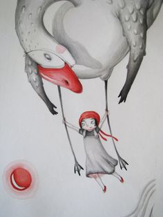 Flying with the swan-Original Painting-Original by NanuGraphic