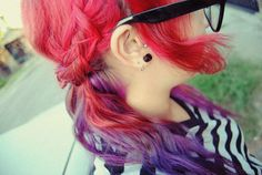Half red purple ombre hair