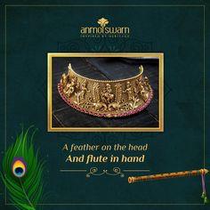Gold Jewellery Design, Gold Jewelry, Contemporary Wedding Jewellery, Krishna Janmashtami, Temple Jewellery, Wholesale Jewelry, Flute, Indian Jewelry, Gold Jewellery