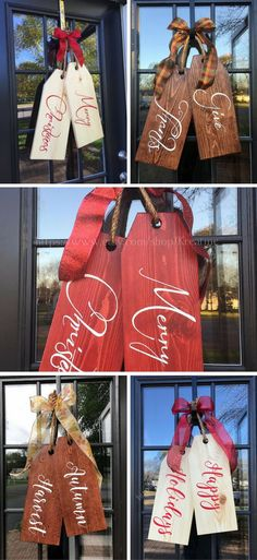 Cute Large Holiday Wooden Tags for your front door #tags #ad #wood #holidays #christmas #fall #frontdoor #thanksgiving