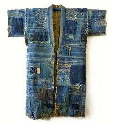 Boro / ancient Japanese kimono with reinforcing stitching