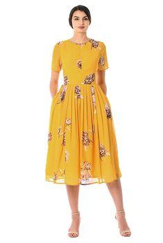 Chrysanthemum print georgette dress-CL0056499