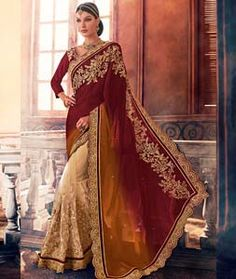 Buy Maroon Georgette Wedding Saree 72505 with blouse online at lowest price from vast collection of sarees at Indianclothstore.com.