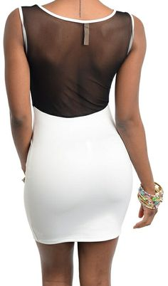 Back View. New Black and White Sleeveless Party Dress Mesh Insert Open Back Dress Size 2