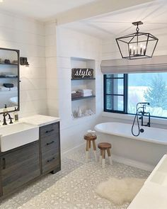 H O M E // After my first day up on the mountain, this lady is ready for a nice hot soak!😳 Gotta get my skiiing bod locked and… Bathroom Renos, Bathroom Interior, Master Bathroom, Bathroom Cabinets, Bathroom With Window, Bath Window, Bathroom Tiling, Dyi Bathroom, Bathroom Windows