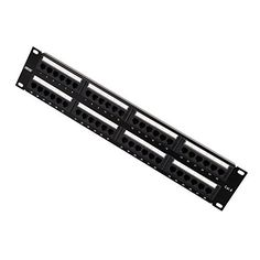 Dshot 48 Port 2U wall mount Rack Mountable RJ45 CAT6 Patch Panel -Dual IDC connector can accept 22-26 AWG solid and stranded UTP cables - Compatible with 110 or Krone Tools