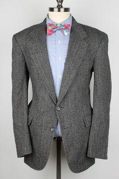 Grey Weave Mens Tweed Jacket  Evan Picone Modest by ThePlaidBowTie