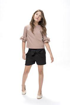 Pantalón lino negro corto - Sainte Claire | Ropa de niñas, niños y bebés